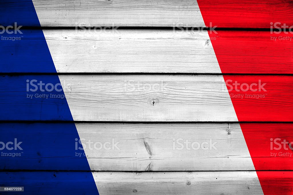 France Flag on wood background stock photo