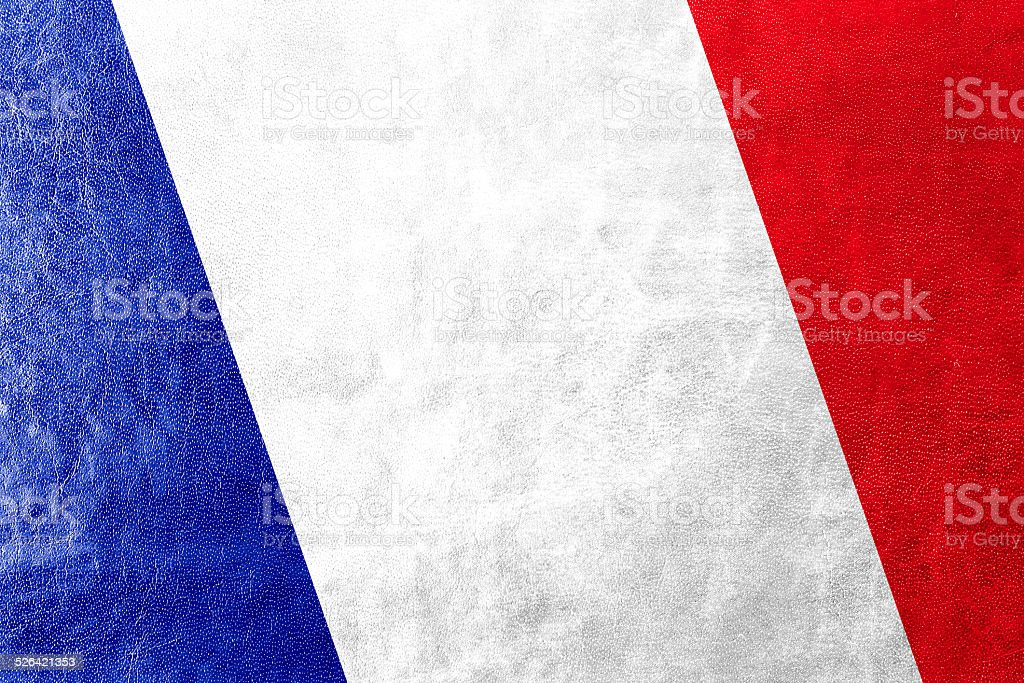 France Flag painted on leather texture stock photo