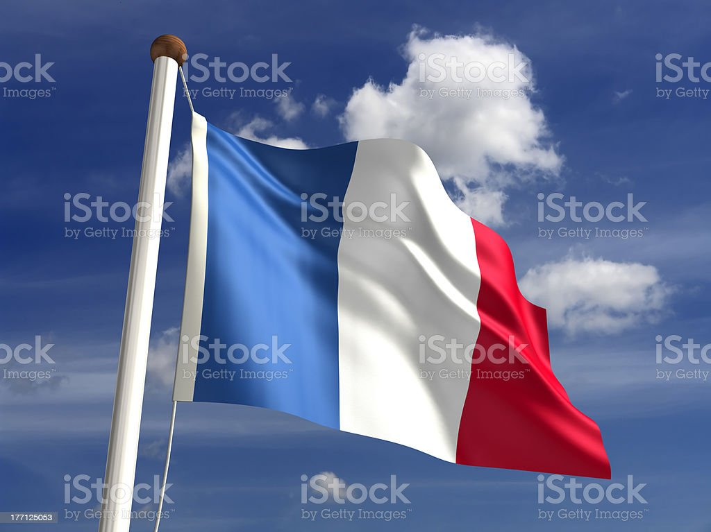 France flag (with clipping path) stock photo