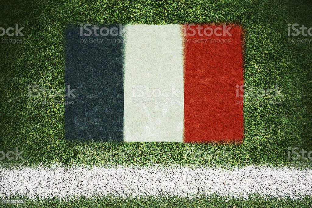 France flag printed on a soccer field royalty-free stock photo