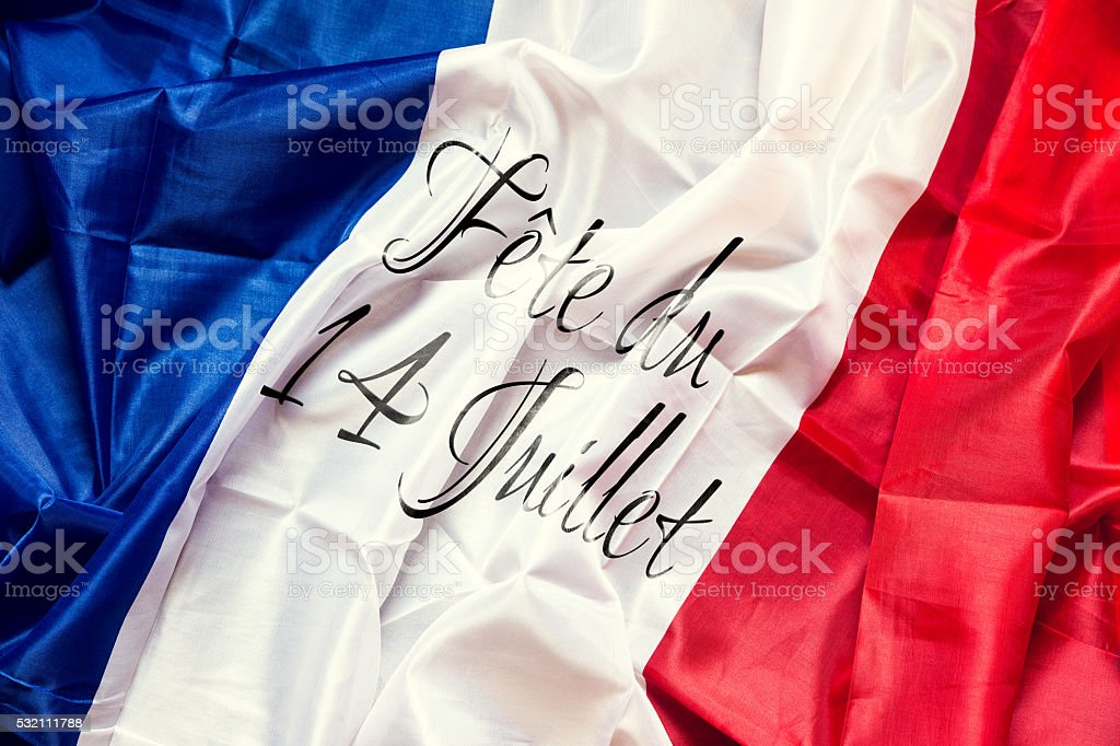France Flag with french text, National day of 14th July stock photo