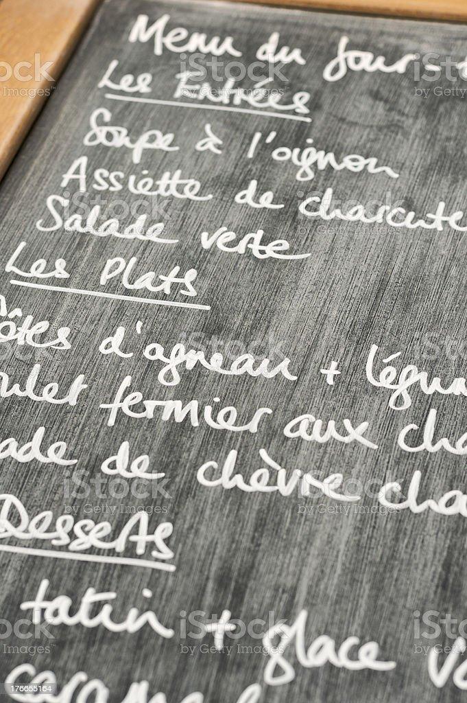 France - French restaurant lunch menu du jour on chalkboard royalty-free stock photo