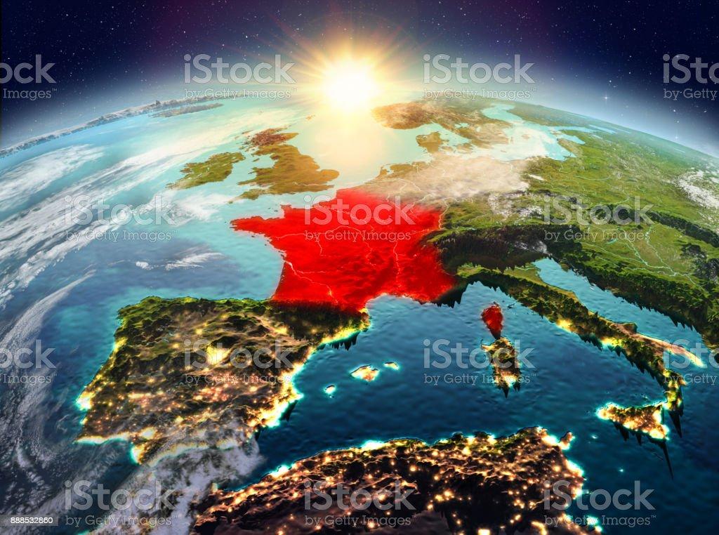 Francia desde el espacio en sunrise - foto de stock