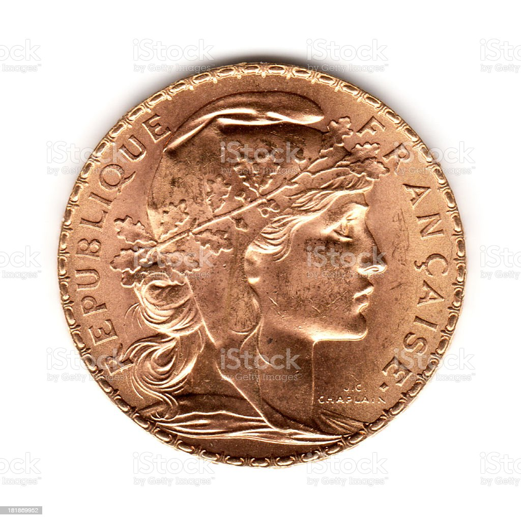 France Gold 20 Francs Coin 1909 stock photo
