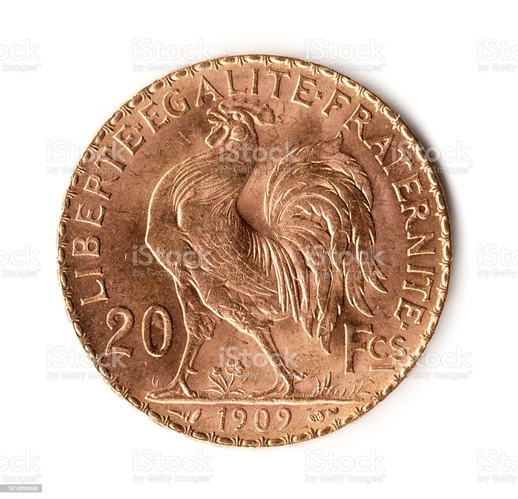 France Gold 20 Francs Coin Rooster 1909 stock photo