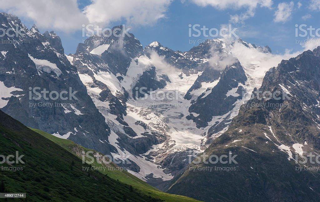 La Francia. Alte Alpi. Panoramica da Col du Lautaret - foto stock