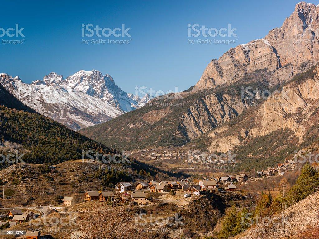 France, Hautes-Alpes: overlook on Pelvoux and Barre des Ecrins stock photo