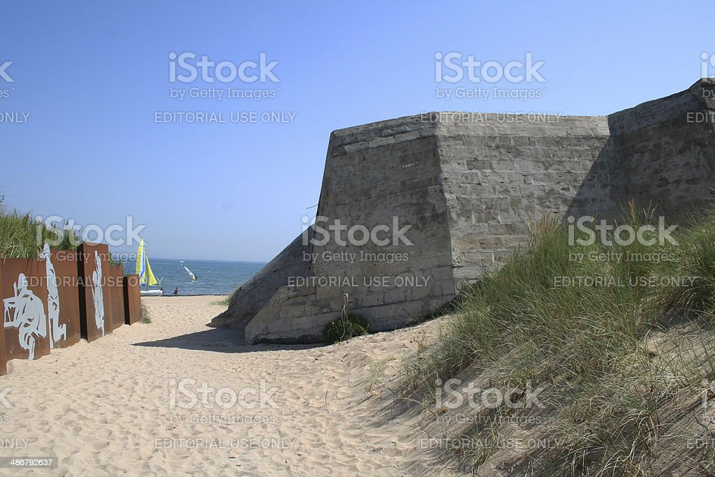 France: Juno Beach entrance at Courseulles-sur-mer stock photo