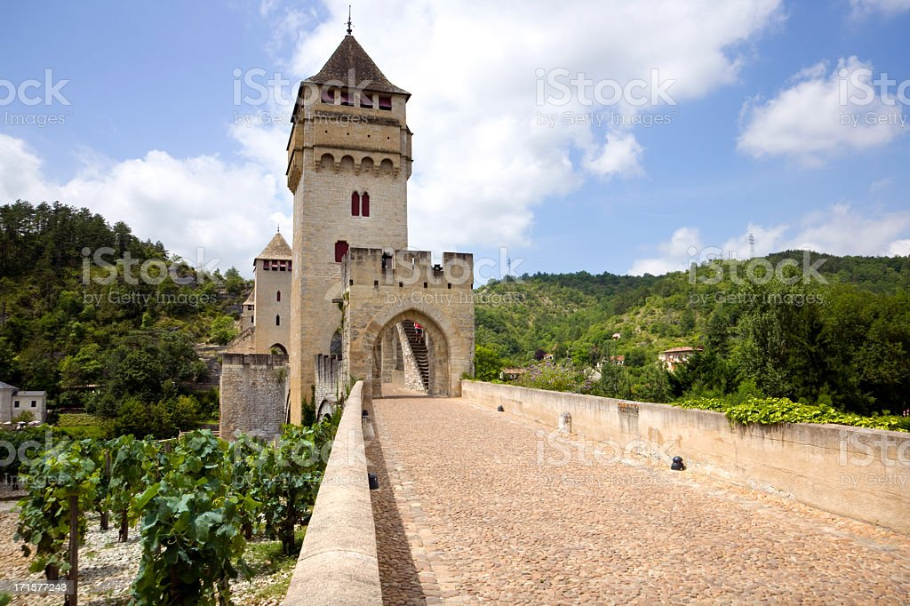 France, Lot, historic Pont Valentre fortified bridge in Cahors stock photo