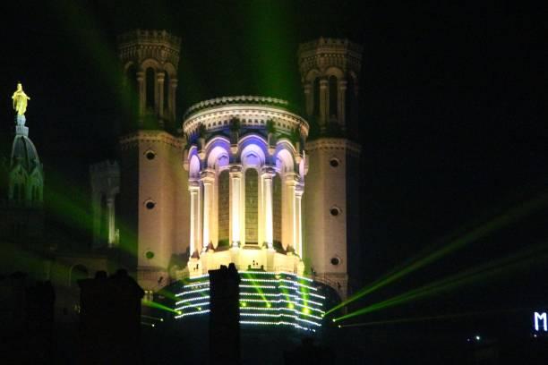 France, lyon - cathedrale de notre dame de fourvière - fête des lumières stock photo