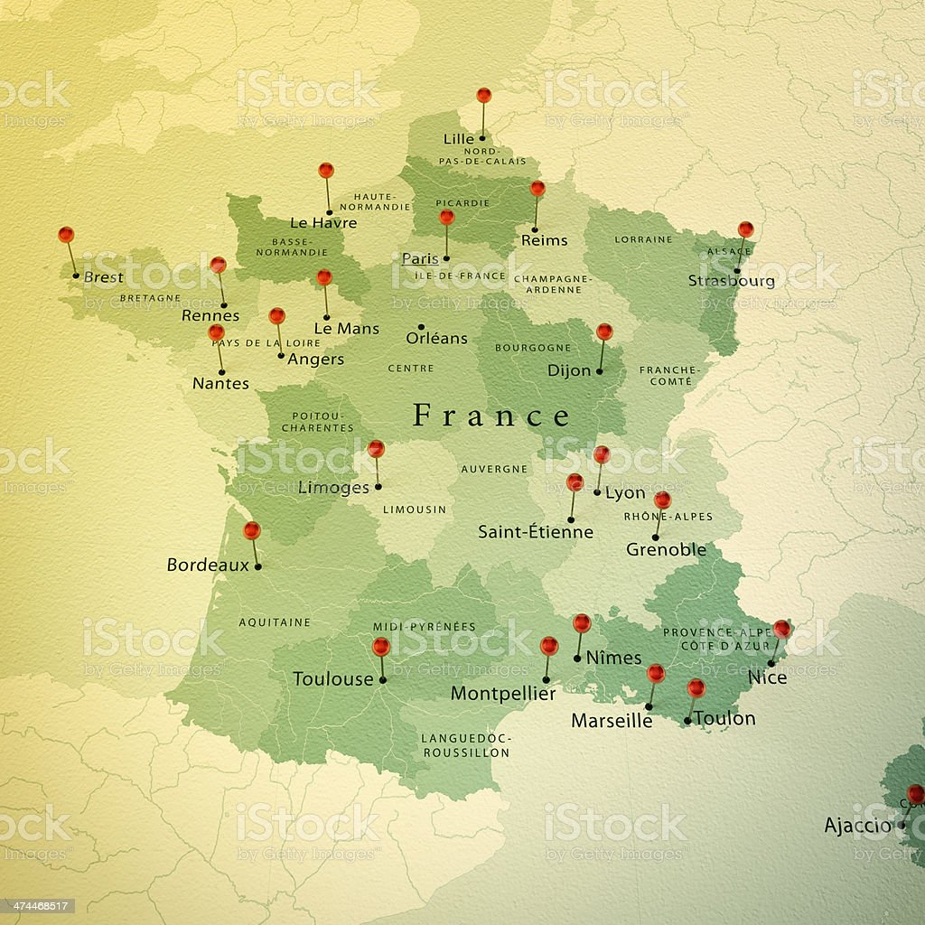 Cities Of France Map.France Map Square Cities Straight Pin Vintage Stock Photo More
