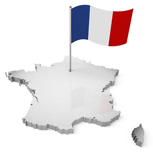 3D France Map with flag stock photo