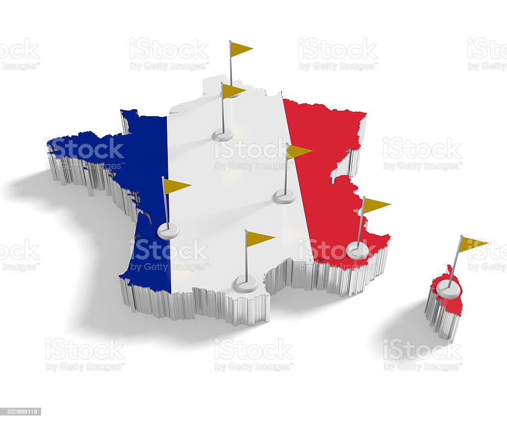 France Map With Flags On The Flagpoles Showing The Major Cities - Major cities in france