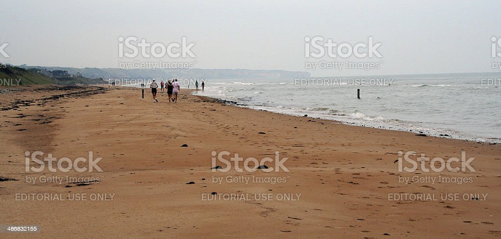 France: Omaha Beach at Colleville-sur-Mer stock photo