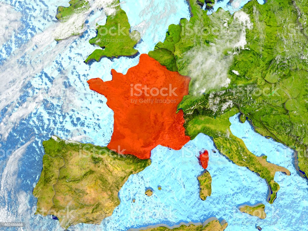 France on map with clouds stock photo