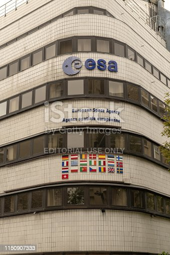 France, Paris, 2019 - 04 The European Space Agency  an intergovernmental organisation of 22 member states dedicated to the exploration of space. Established in 1975 and headquartered in Paris, France,