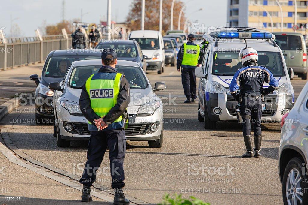 France Paris attacks - border surveillance with Germany stock photo