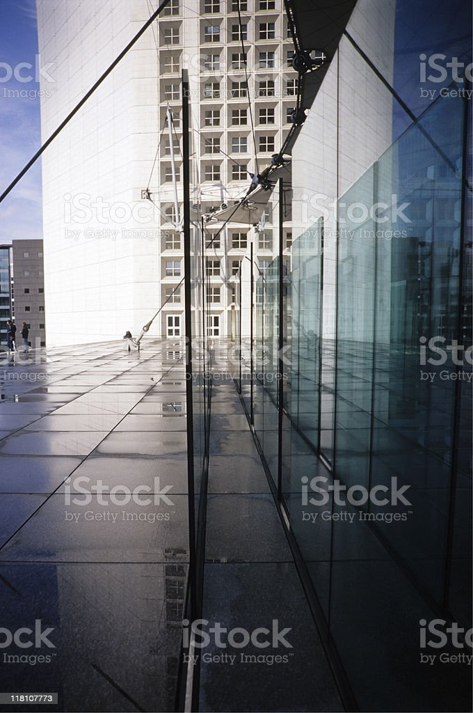 France, Paris, La Defense, reflection of buildings in glass royalty-free stock photo