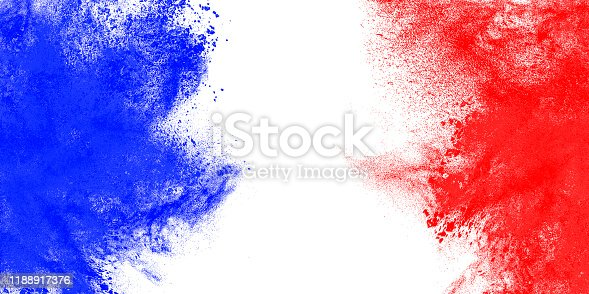 Abstract exploding flag of France perfect for backgrounds and design.