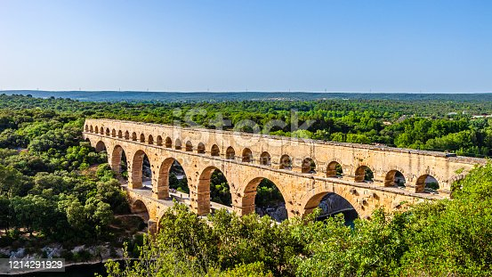 Pont du Gard, a Roman bridge built around 17 Ac. UNESCO World Heritage Site.