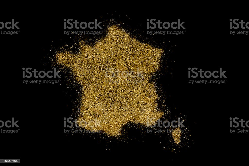 France shaped from golden glitter on black (series) stock photo