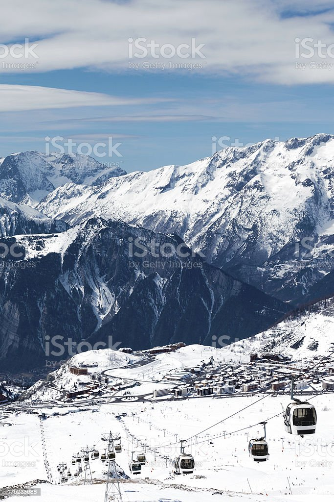 France ski resort Alpe d'Huez stock photo