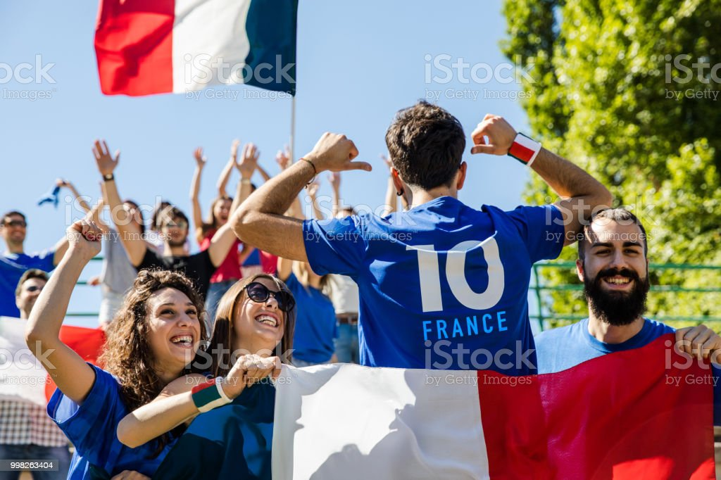 France supporters at the football league supporting their National Team stock photo