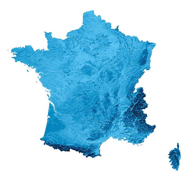 France Topographic Map Isolated stock photo