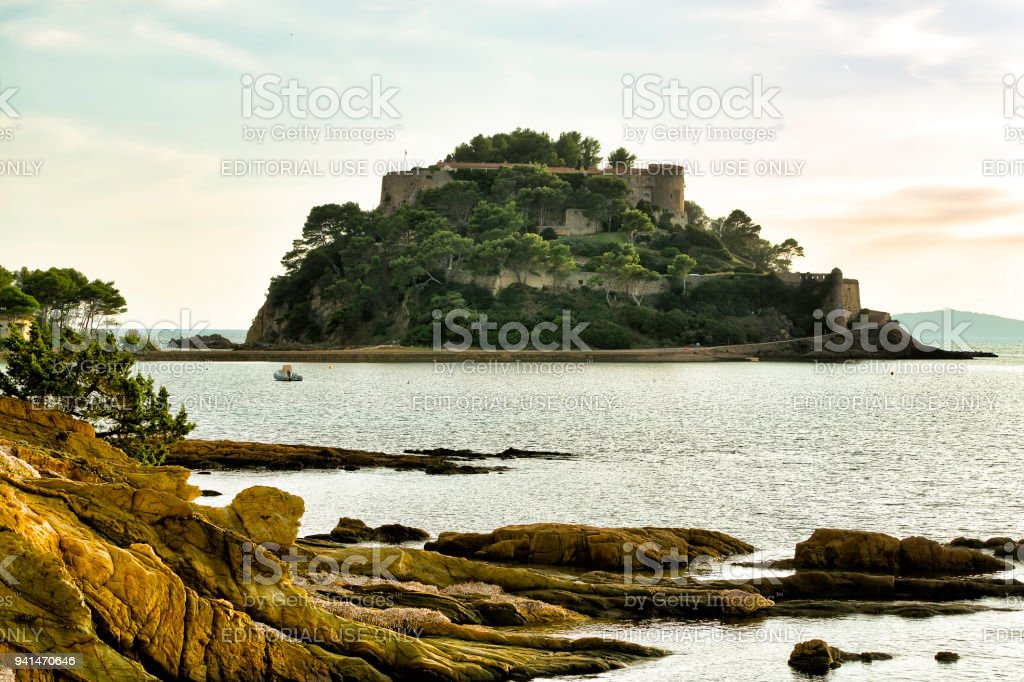 France, Var, Bormes les Mimosas, Bregancon Fort, official residence of the President of the Republic stock photo