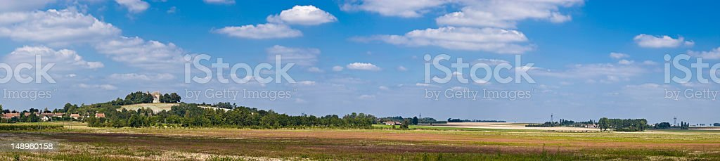 France village farm hill church panorama royalty-free stock photo