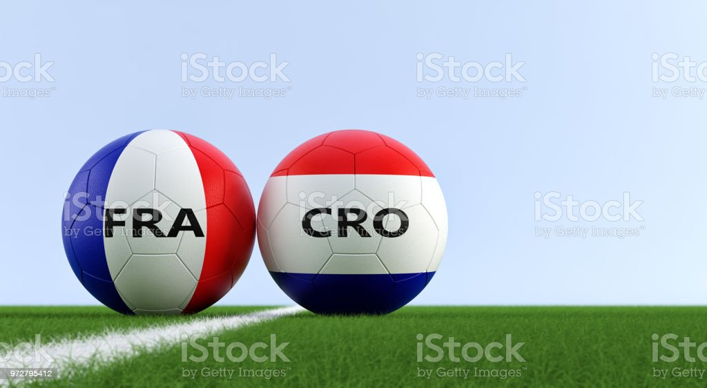 France vs. Croatia Soccer Match - Soccer balls in France and Croatia national colors on a soccer field. Copy space on the right side - 3D Rendering - foto stock