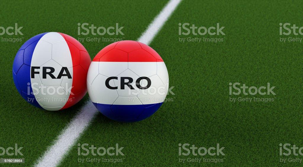 France vs Croatie Soccer Match - ballons de football en France et en Croatie les couleurs nationales sur un terrain de football. Espace de la copie sur le côté droit - 3D Rendering - Photo