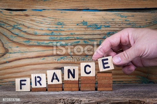 800485914istockphoto France. Wooden letters on the office desk, informative and communication background 872323756