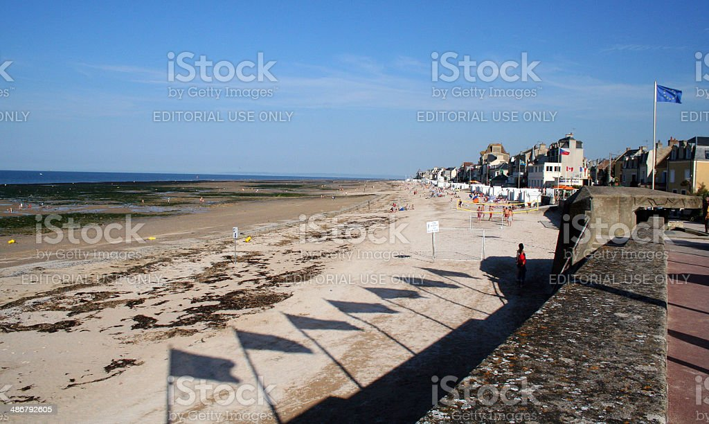 France: WWII D-Day Beach at St. Aubin-sur-mer stock photo