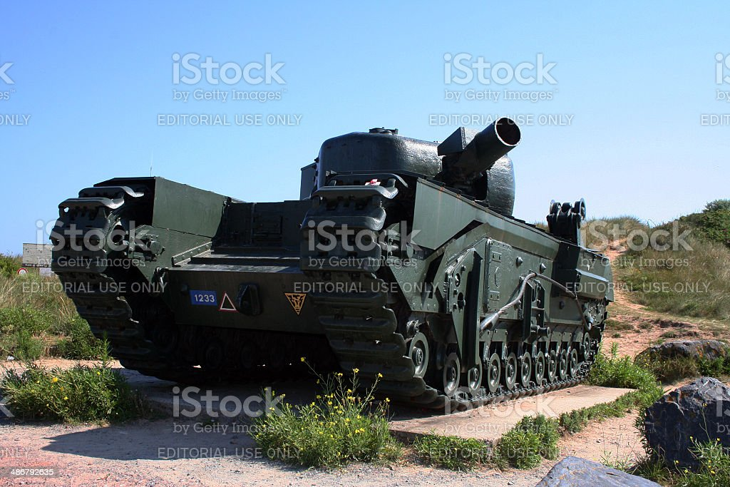 France: WWII D-Day Tank at Graye-sur-mer stock photo