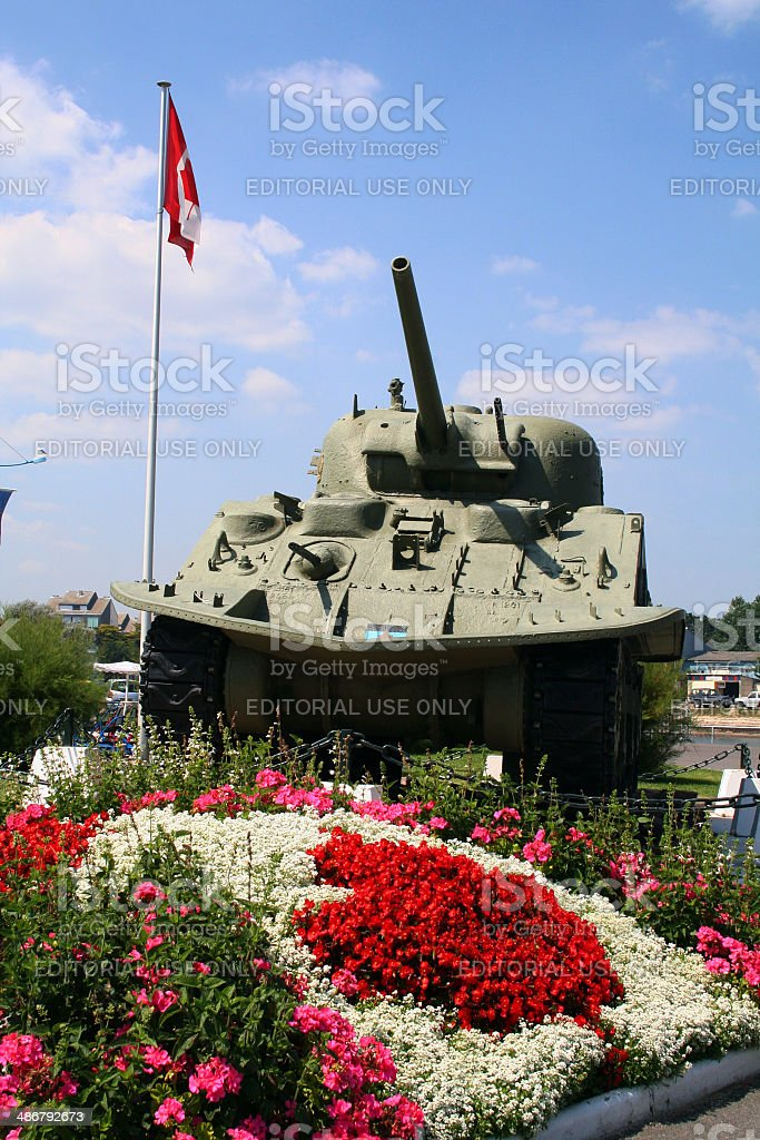 France: WWII Tank at Courseulles-sur-mer stock photo