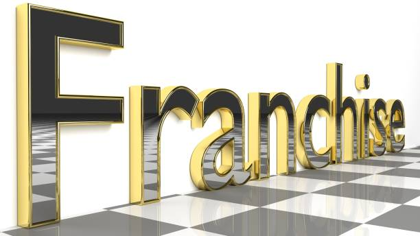 Franchise sign in golden glossy letters stock photo