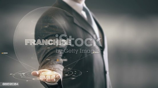 istock Franchise with hologram businessman concept 688595384