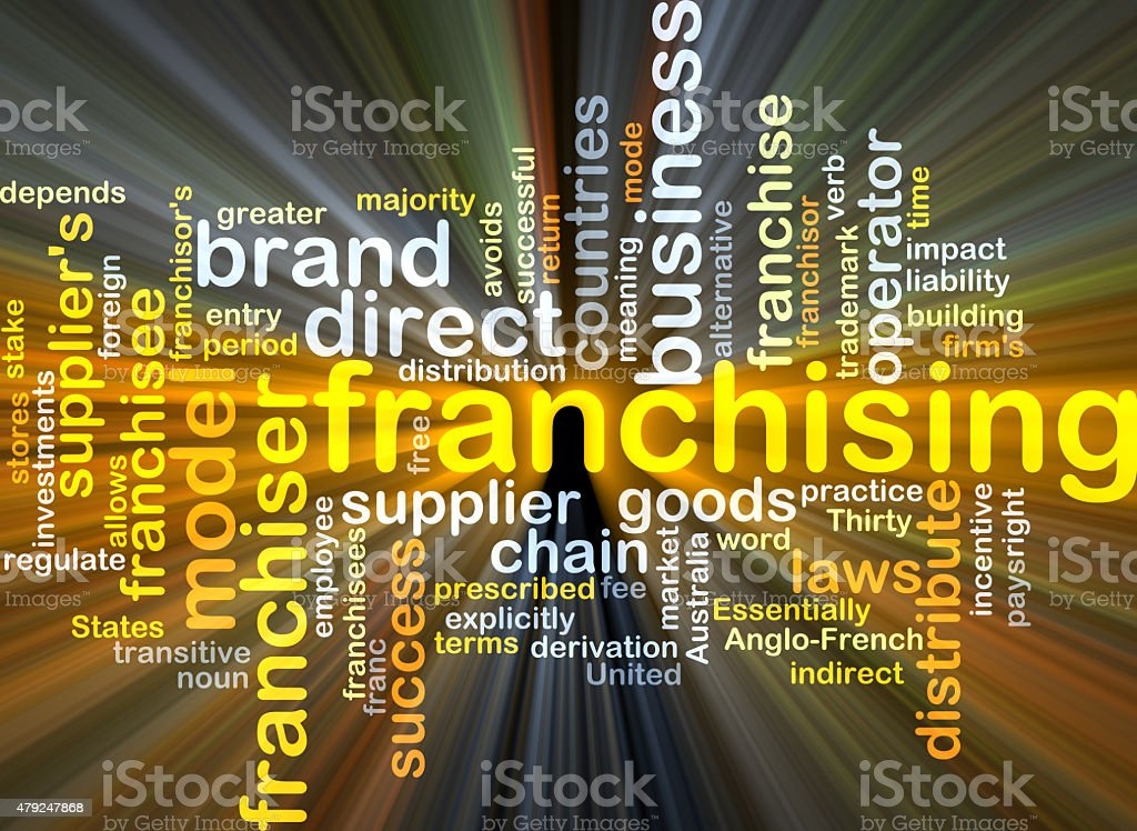 Franchising background concept glowing stock photo