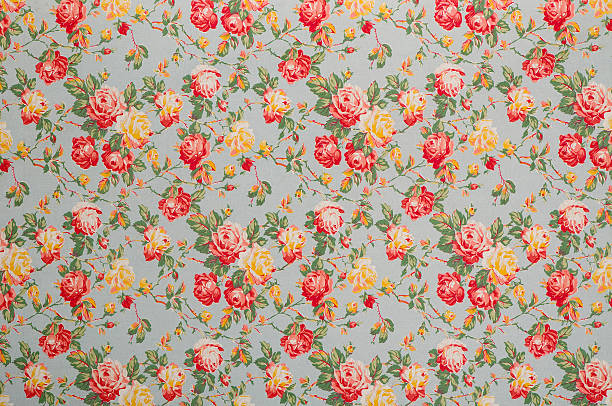 francine floral medium vintage fabric - floral pattern stock photos and pictures