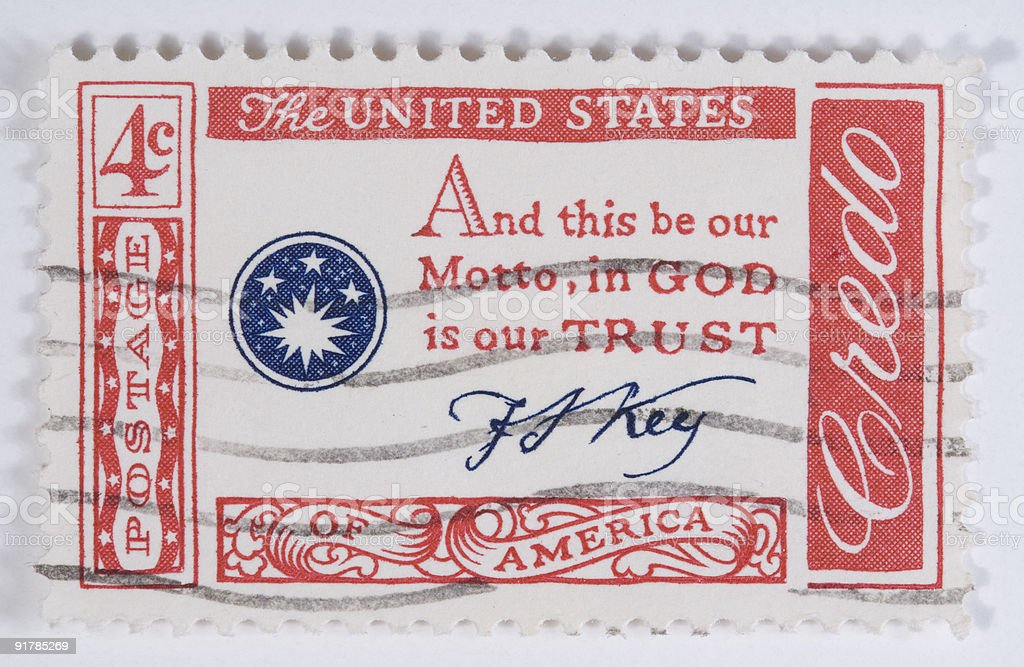 Francis Scott Key Motto in God is our trust stock photo