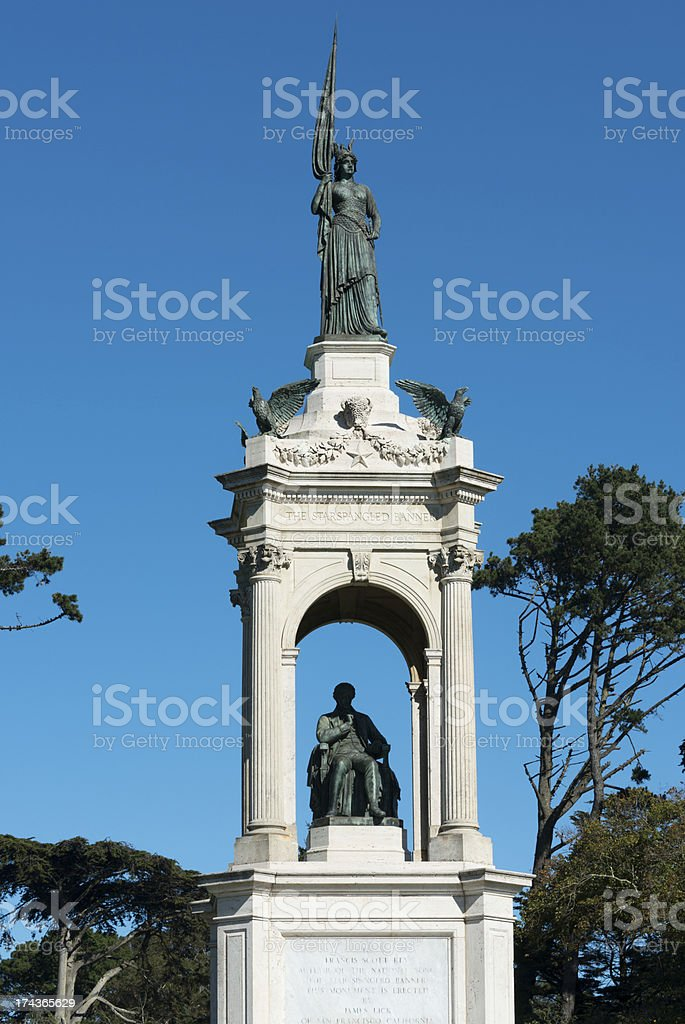 Francis Scott Key statue in Golden Gate Park, San Francisco royalty-free stock photo