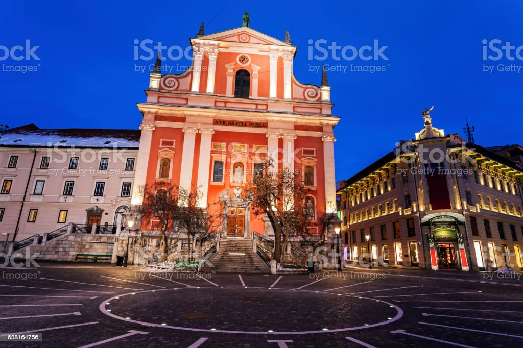Franciscan Church and Prešeren Square stock photo