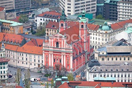 Ljubljana, Slovenia - April 09 2019: The Franciscan Church of the Annunciation (Slovene: Frančiškanska cerkev Marijinega oznanjenja or commonly Frančiškanska cerkev) is a Franciscan church located on Prešeren Square.