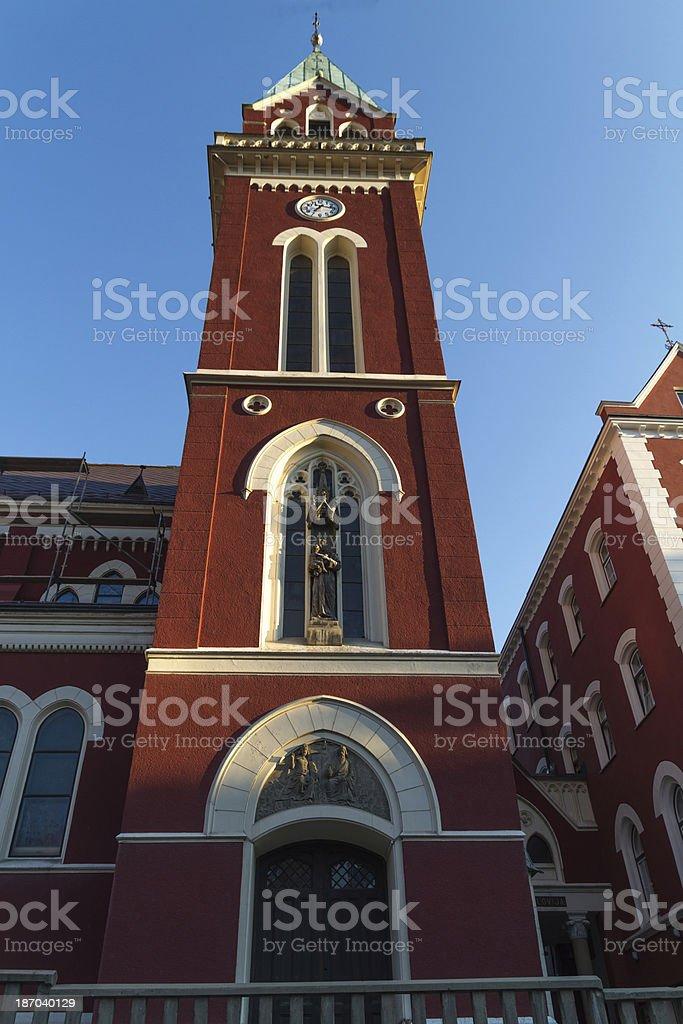 Franciscan church steeple royalty-free stock photo