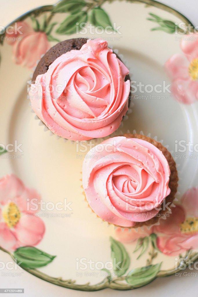 Franciscan Rose Petal Cupcakes stock photo
