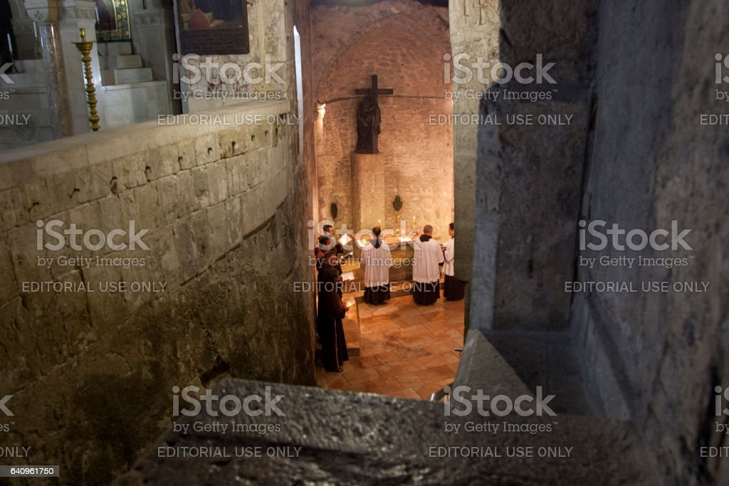 Franciscans in Holy Sepulchre stock photo