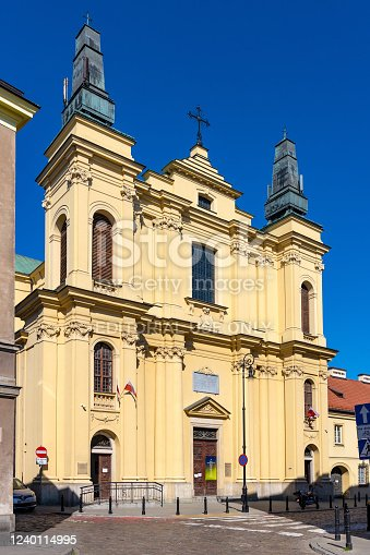 Warsaw, Mazovia / Poland - 2020/05/10: Facade of Franciscans Order Church of St. Francis - Kosciol Sw. Ducha - at Zakroczymska street in historic New Town quarter