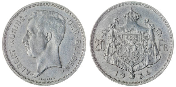 20 francs 1934 coin isolated on white background, Belgium - foto stock
