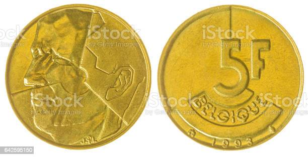 5 francs 1993 coin isolated on white background, Belgium